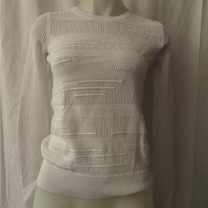 VINCE WHITE KNITTED SWEATER TOP SIZE XXS